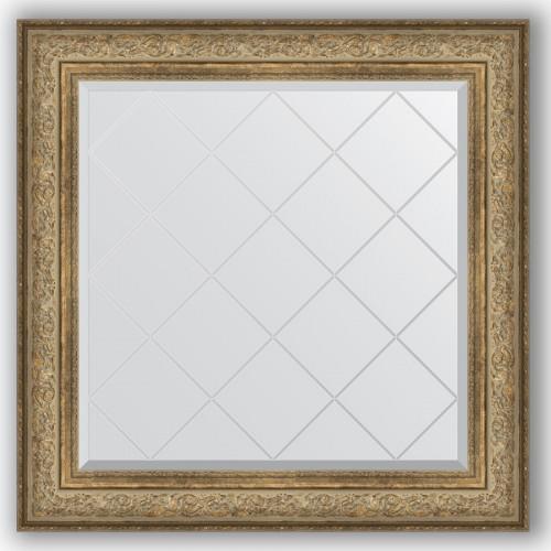 Зеркало с гравировкой в багетной раме - виньетка античная бронза 109 mm BY 4339