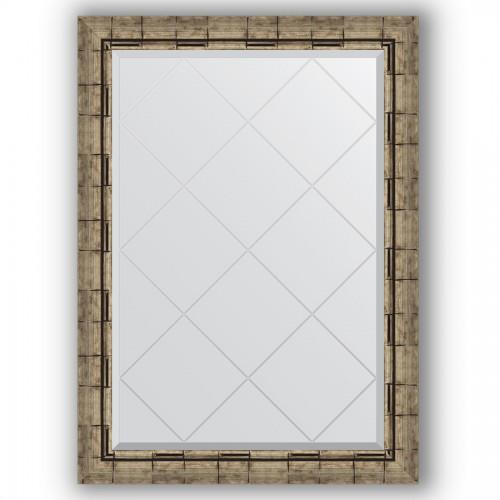 Зеркало с гравировкой в багетной раме - серебряный бамбук 73 mm BY 4179