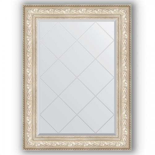 Зеркало с гравировкой в багетной раме - виньетка серебро 109 mm BY 4211