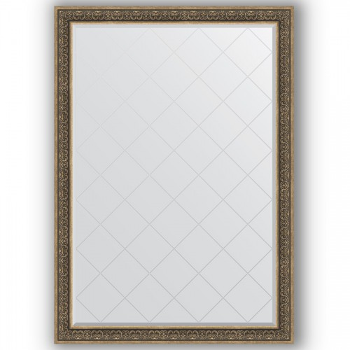 Зеркало с гравировкой в багетной раме - вензель серебряный 101 mm BY 4508