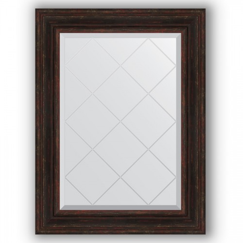 Зеркало с гравировкой в багетной раме - темный прованс 99 mm BY 4119