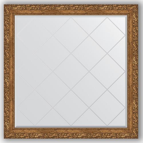 Зеркало с гравировкой в багетной раме - виньетка бронзовая 85 mm BY 4443