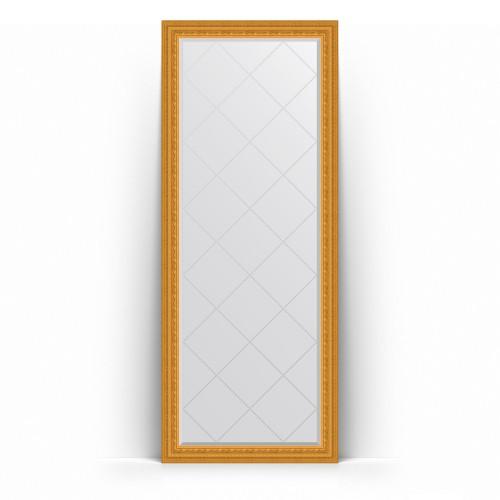 Зеркало напольное с гравировкой в багетной раме - сусальное золото 80 mm BY 6309