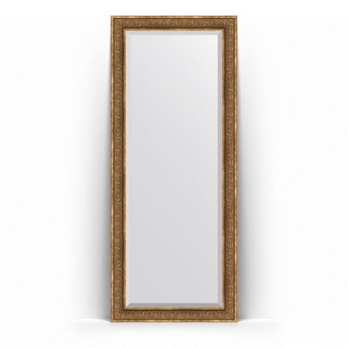 Зеркало напольное с фацетом в багетной раме - вензель бронзовый 101 mm BY 6131