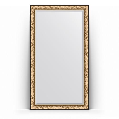 Зеркало напольное с фацетом в багетной раме - барокко золото 106 mm BY 6173