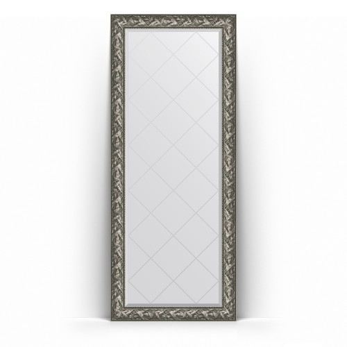 Зеркало напольное с гравировкой в багетной раме - византия серебро 99 mm BY 6325