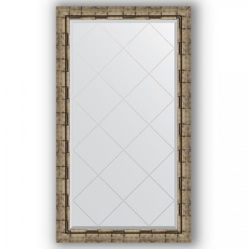 Зеркало с гравировкой в багетной раме - серебряный бамбук 73 mm BY 4222