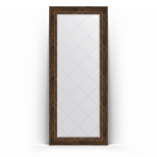 Зеркало напольное с гравировкой в багетной раме - состаренное дерево с орнаментом 120 mm BY 6340