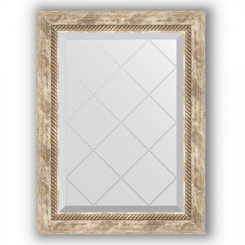 Зеркало с гравировкой в багетной раме - прованс с плетением 70 mm BY 4005