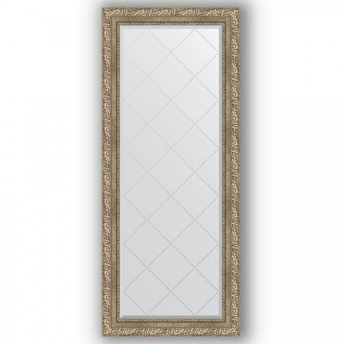 Зеркало с гравировкой в багетной раме - виньетка античное серебро 85 mm BY 4143