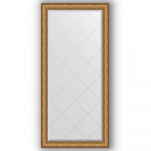 Зеркало с гравировкой в багетной раме - медный эльдорадо 73 mm BY 4266