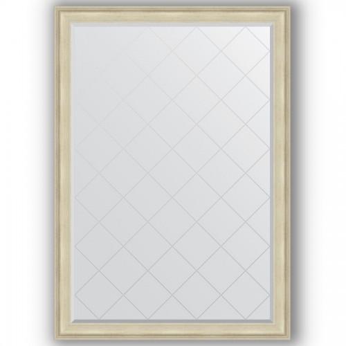Зеркало с гравировкой в багетной раме - травленое серебро 95 mm BY 4499