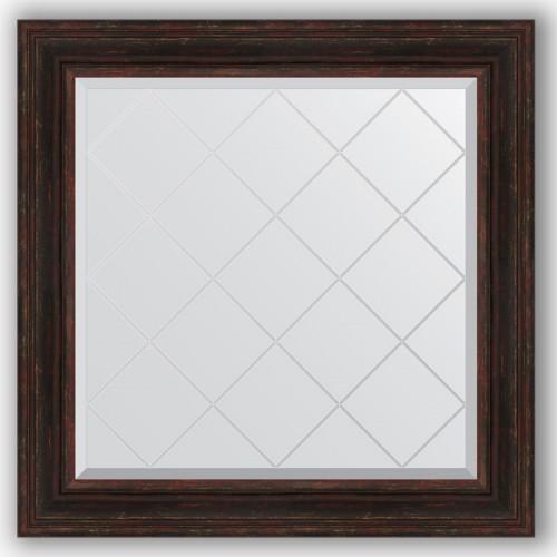 Зеркало с гравировкой в багетной раме - темный прованс 99 mm BY 4334