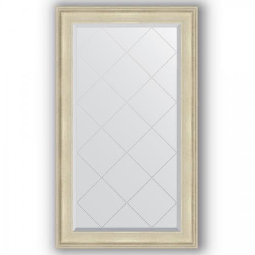 Зеркало с гравировкой в багетной раме - травленое серебро 95 mm BY 4241