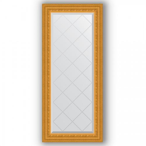 Зеркало с гравировкой в багетной раме - сусальное золото 80 mm BY 4052