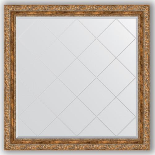 Зеркало с гравировкой в багетной раме - виньетка античная бронза 85 mm BY 4445