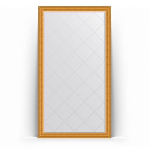 Зеркало напольное с гравировкой в багетной раме - сусальное золото 80 mm BY 6349