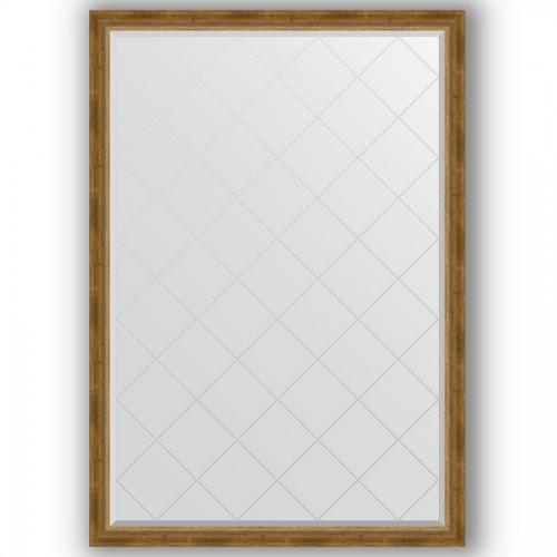 Зеркало с гравировкой в багетной раме - состаренная бронза с плетением 70 mm BY 4477