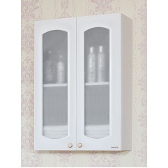 Шкаф навесной двустворчатый с витражами Анна 65 белый