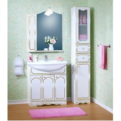 Комплект мебели для ванной Бриклаер Лючия 80 с одним шкафчиком белый с золотом