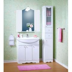 Комплект мебели для ванной Бриклаер Лючия 80 с двумя шкафчиками белый