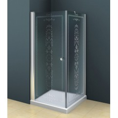 Душевой уголок 90x90 прозрачное с матовым принтом стекло CEZARES ROYAL PALACE-A-1-90-CP-Cr