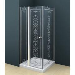 Душевой уголок 90x90 прозрачное с матовым принтом стекло CEZARES ROYAL PALACE-A-12-90-CP-Cr