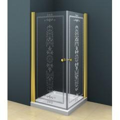 Душевой уголок 80x80 прозрачное с матовым принтом стекло CEZARES ROYAL PALACE-A-2-80-CP-Cr