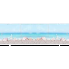 Экран под ванну раздвижной 170 см Метакам Премиум ПБ ракушки на песке