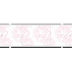 Экран под ванну раздвижной 170 см Метакам Премиум А ТИ бледно-розовые пионы