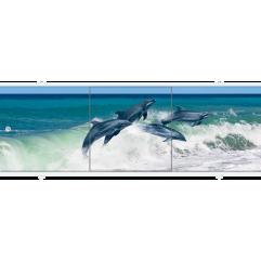 Экран под ванну раздвижной 170 см Метакам Премиум АРТ четыре дельфина