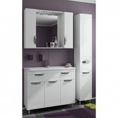 Комплект мебели для ванной Франческа Доминго 90 с 3 дверцами белый
