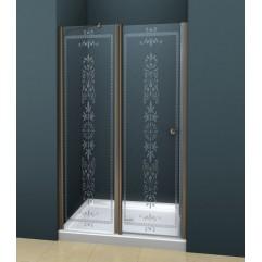Душевая дверь в нишу 100х195см прозрачное стекло с матовым принтом ROYAL PALACE-B-12-60/40-CP-Br