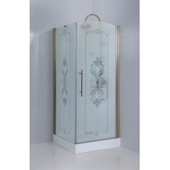 Душевой уголок Cezares Giubileo матовое стекло с прозрачным узором  90x90x195см GIUBILEO-A-11-90-PP-Br-R