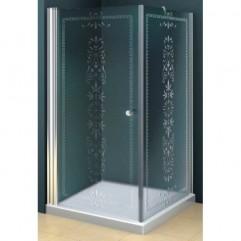 Душевой уголок 80x100 прозрачное с матовым принтом стекло CEZARES ROYAL PALACE-AH-1-80/100-CP-Br