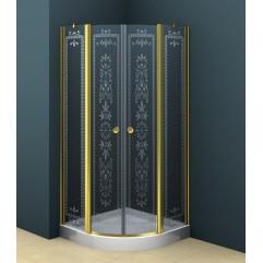 Душевой уголок 90x90 прозрачное с матовым принтом стекло CEZARES ROYAL PALACE-R-2-90-CP-Cr