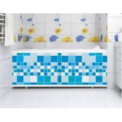 Экран под ванну 150 см. Метакам Ультралегкий голубой кафель (раздвижной)