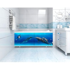 Экран под ванну 170 см.Метакам Ультралегкий-арт дельфины (раздвижной)
