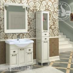Комплект мебели для ванной Акватон Жерона 85 белое серебро