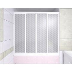 Душевая штора на ванну 2-х створчатая раздвижная 169х140 Метакам КУПЕ